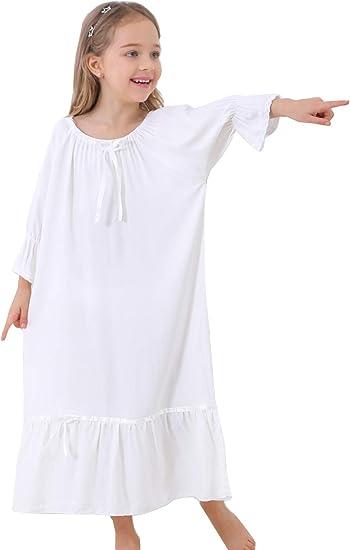 Little Girls Princess Nightgown Organic Cotton Nightdress Short Sleeve Soft Wear