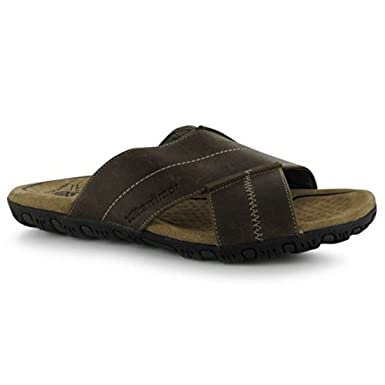 Karrimor Mens Lounge Slide Leather Sandals Summer Shoes Cross Over Strap:  Amazon.co.uk: Shoes & Bags