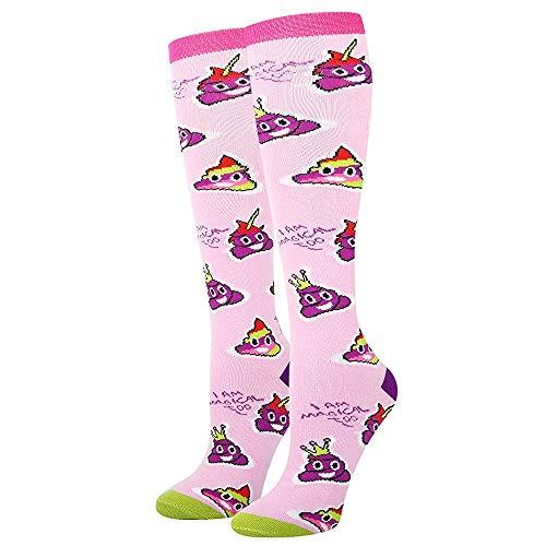 Women's Novelty Knee High Socks Rainbow Poop Emoji Athletic Over the Calf Socks for Girls -