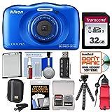 Nikon Coolpix W100 Wi-Fi Shock & Waterproof Digital Camera (Blue) with 32GB Card + Case + Battery + Flex Tripod + Floating Strap + Kit