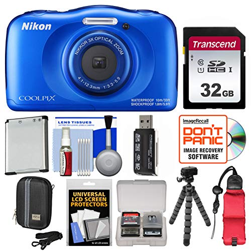 - Nikon Coolpix W100 Wi-Fi Shock & Waterproof Digital Camera (Blue) with 32GB Card + Case + Battery + Flex Tripod + Floating Strap + Kit