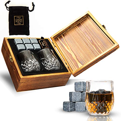Whiskey Stones Gift Set - Cold Stones For Drinks - 6 Natural Granite Whisky Rocks To Chill Your Beverages + 2 Crystal Whiskey Shot Glasses in Wooden Box - Best Bar Accessories By Lord