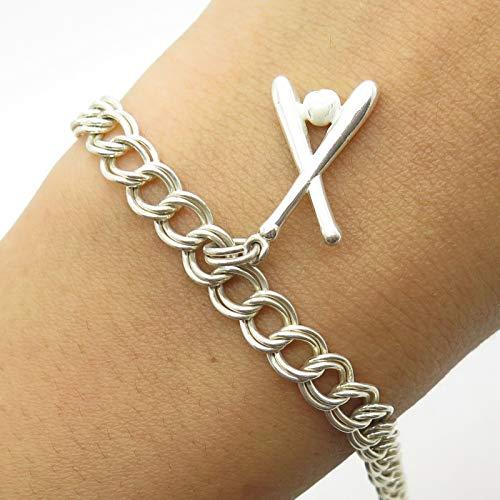 PGDA Italy 925 Sterling Silver Enamel Baseball Charm Bracelet 7 3/4