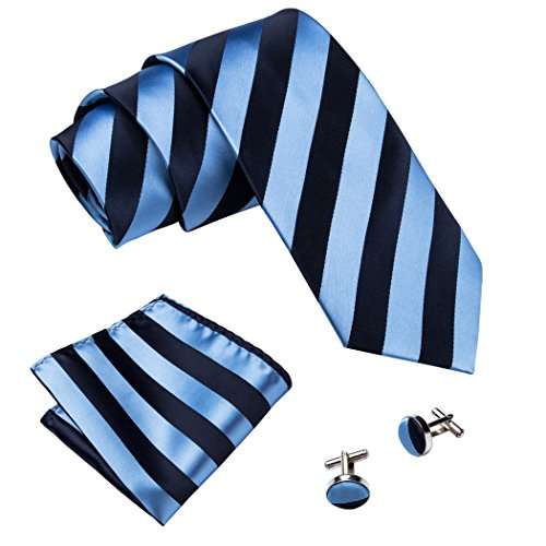 Barry.Wang Stripe Tie Set Blue Pokcet Sqaure Cufflinks Set