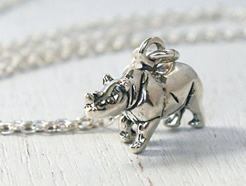 (Sterling Silver Rhino Necklace)