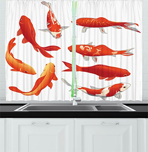 Ocean Animal Decor Kitchen Curtains by Ambesonne, Legendary Koi Fish Band Chinese Good Fortune and Power Icon Tranquil , Window Drapes 2 Panels Set for Kitchen Cafe, 55W X 39L Inches, Orange White (Koi Fish Window Curtains)