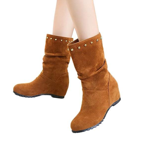 Stiefel Damen Boots Frauen Wildleder Stiefeletten Runde Zehe