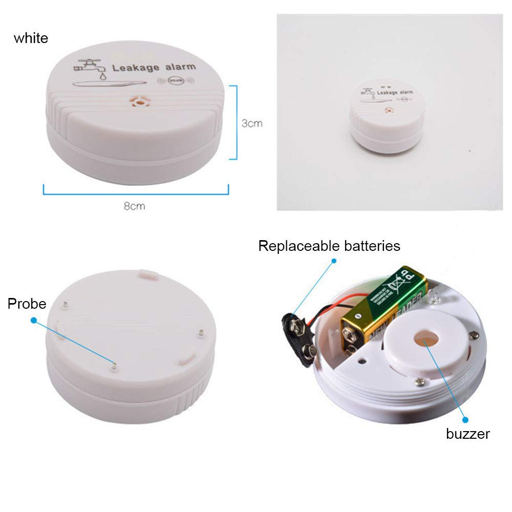 FiedFikt Kabelloser Buzz Warnung Wassersensor Alarm Haussicherheit Wasserleck-Detektor Anti-Leak Alarm Familie Wasser Leck Alarm Waschmaschine Leck Elektronik Gadgets