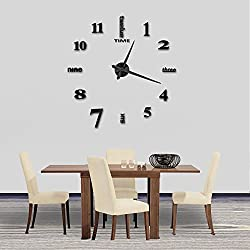 Modern Frameless DIY Wall Clock Large 3D Wall Watch Non Ticking for Living Room Bedroom Kitchen (Black-002)