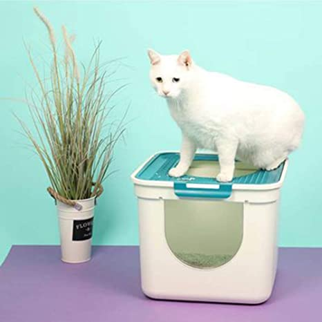 Caja de Arena de Entrada Superior Arenero para Gatos Diseño ...