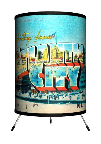 Lamp-In-A-Box TRI-TRV-ATLCT Travel - Atlantic City Postcard Tripod Lamp, 8'' x 8'' x 14'' by Lamp-In-A-Box
