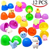 12 Pieces Mochi Squishy Prefilled Easter Eggs (Toys Inside); Kawaii Foamy Stress Reliever Squishies for Easter Theme Party Favor, Easter Eggs Hunt, Basket Filler, Classroom Prize Supplies by Joyin Toy