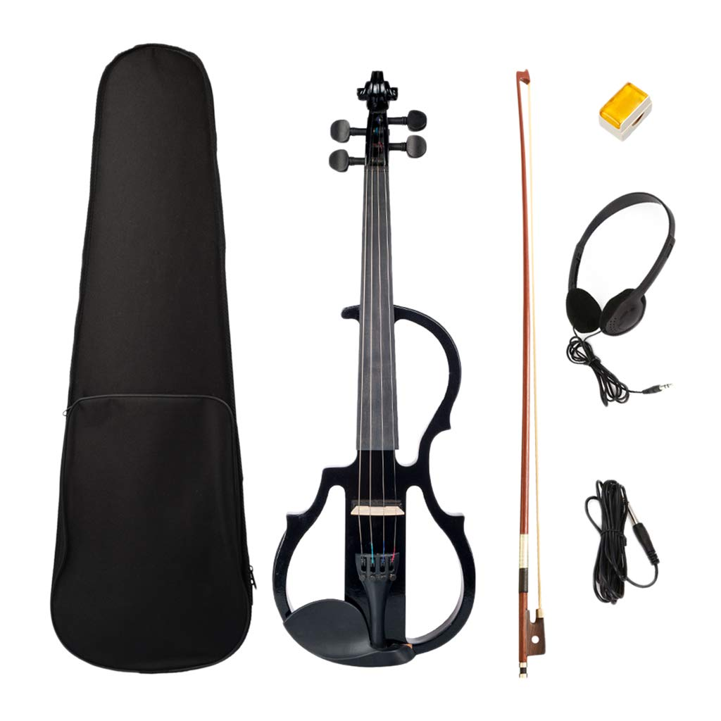 D DOLITY Electric Violin 4/4 Size with Case, Bow, Audio Cable, Headphone, Rosin - Black