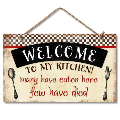 Highland Graphics Welcome to My Kitchen Decorative Wood Wall Plaque with Braided Rope for Hanging Red, Black, - Wall Here Plaque
