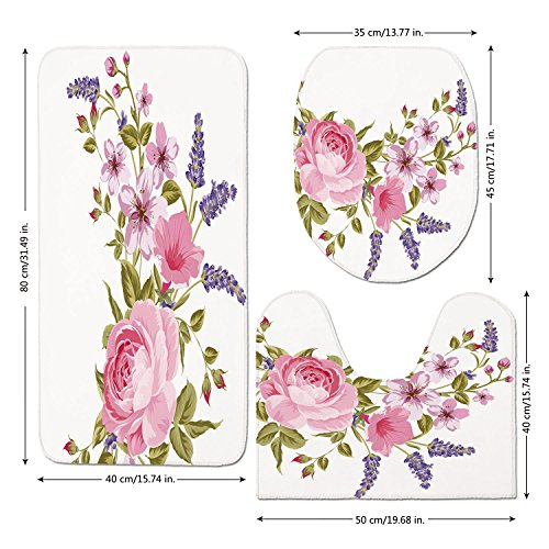 3 Piece Bathroom Mat Set,Lavender,Bridal Style Garland of Rose Sakura and Lavender Vintage Artistic Bouquet Flora,Multicolor,Bath Mat,Bathroom Carpet Rug,Non-Slip
