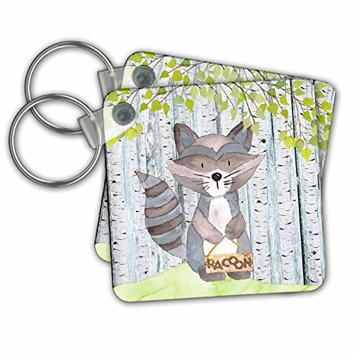 Spring Animal Raccoon - Uta Naumann Watercolor Illustration Animal - Watercolor Illustration Raccoon in Spring Holding A Name Board - Key Chains - set of 6 Key Chains (kc_263192_3)