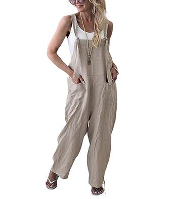 9647c96439 Women's Casual Plus Size Overalls Jumpsuits, Long Loose Solid Color Vintage Baggy  Pants Wide Leg