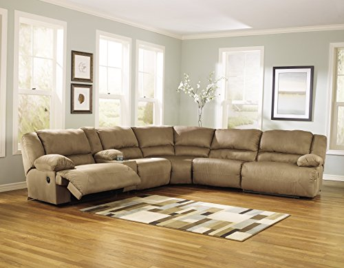 Ashley Furniture Signature Design - Hogan 6-Piece Sectional - Left Arm Facing Recliner with Armless Recliner, Wedge, Console & Right Recliner - Mocha