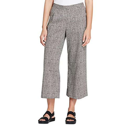 [Eileen Fisher Womens Printed Flat Front Wide Leg Pants B/W S] (Flat Front Wide Leg Pants)