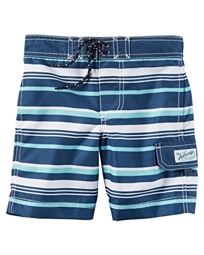 Carter's Little Boys' Swim Trunks (2T, Light Blue Stripe) (Dinosaur Swim Trunks)