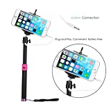 Selfie Stick, Carrdone Plug-N-Snap Self Portrait Extendable Handheld Monopod Stick with Adjustable Phone Holder with Built-in Remote Shutter - Charge Free - Designed for Apple iPhone and Android Smartphones(Black)