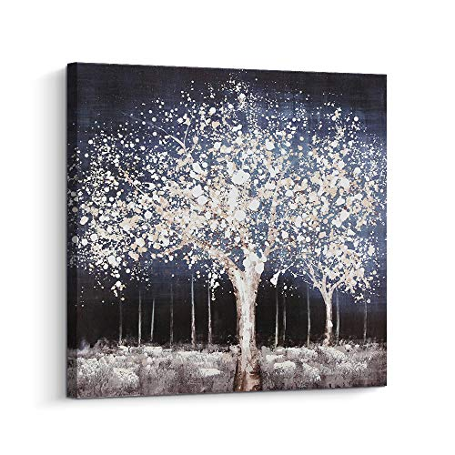 Pi Art Relax Blue Canvas Wall Art with Grey Trees Wall Decor, Modern Abstract Scenery Canvas Print Wall Painting with Hand Painted Details Wall Decor for Living Room Bedroom Framed (24x24, B)