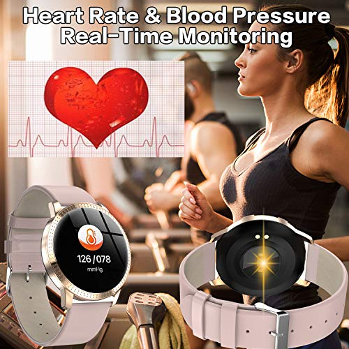 TURNMEON Women Hybrid Smart Watch - Waterproof Fitness Tracker, Color Touchscreen Fashion Smartwatch with Heart Rate… 4