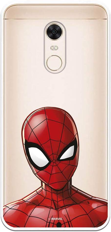 Funda para Xiaomi Redmi 5 Plus Oficial de Marvel Spiderman Silueta Transparente para Proteger tu móvil. Carcasa para Xiaomi de Silicona Flexible con Licencia Oficial de Marvel.