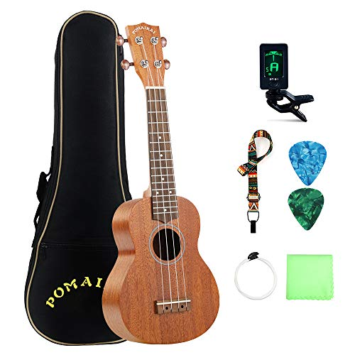 POMAIKAI Soprano Ukulele Mahogany Professional Uke Hawaii kids Guitar 21 Inch with Gig Bag for kids Students and Beginners