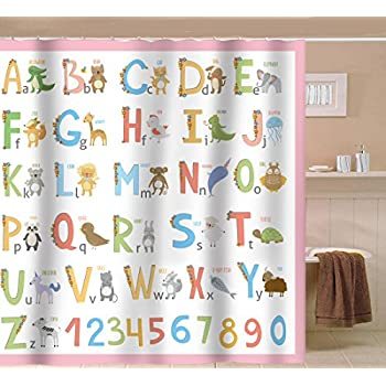 Perfect Sunlit Alphabet Quality Fabric Shower Curtain For Kids ABC Learning Tool  For Babies Large A To