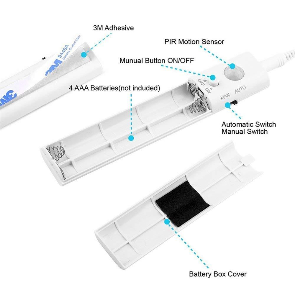 Bewegung aktiviert Bett Licht Doppelmodus-Bewegungs-Nachtlicht,ALLESCOOL Auto Ein/Aus Bewegungsmelder Nachttischlampe LED Strip, (Warmes Weiß)