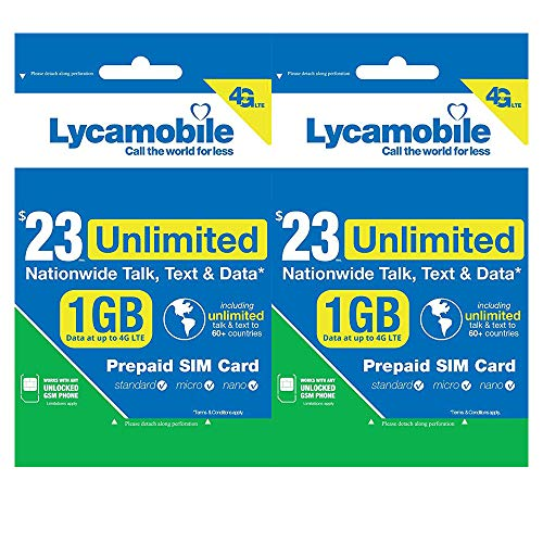 Lycamobile $23 Plan 1GB of High-Speed Data (Then Unlimited Normal Data)  Micro/Nano/Standard 4G/3G/2G LTE Nationwide Talk/Text/Data & 60+ Countries  Sim