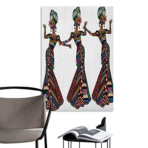 Stickers Wall Murals Decals Removable African Woman Young Women in Stylish Native Costumes Carnival Festival Theme Dance Moves Multicolor School Dormitory Classroom W20 x H28 -
