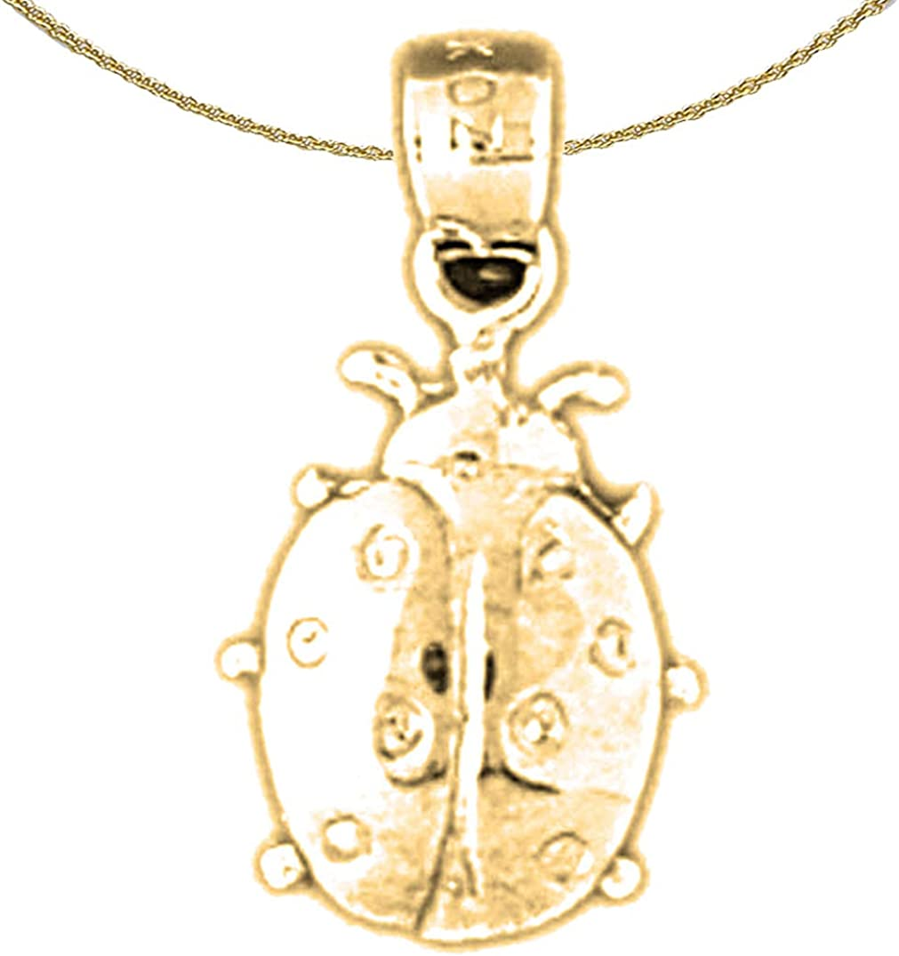 14K Yellow Gold-plated 925 Silver Ladybug Pendant with 18 Necklace Jewels Obsession Ladybug Necklace