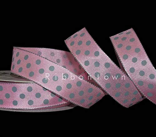 Authentic Pink Ribbon - Ribbon Art Craft Decoration 10 Yards Pink Grey Gray Polka Dot Wired Ribbon 7/8