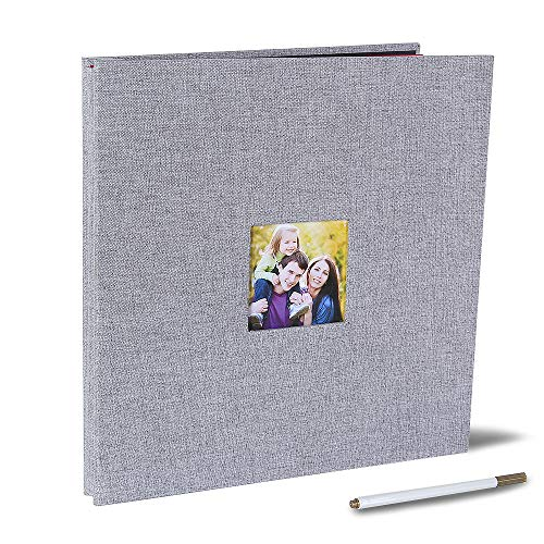 - Large Self Adhesive Photo Album 13 x 12.6 Inches Magnetic Scrapbook Album 40 Magnetic Double Sided Pages Fabric Hardcover DIY Photo Album with A Metallic Pen