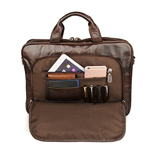 e-bestar Vintage Herren Echtes Leder Handtasche Portfolios 38,1cm Laptop Business Tasche Retro Haut Aktentasche Messenger Umhängetasche für Schule Reise Wochenende