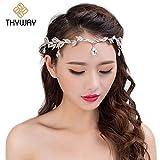 Best Bling Jewelry Headbands - ThyWay Elegant Rhinestone Crystal Silver Leaf Wedding Headpiece Review
