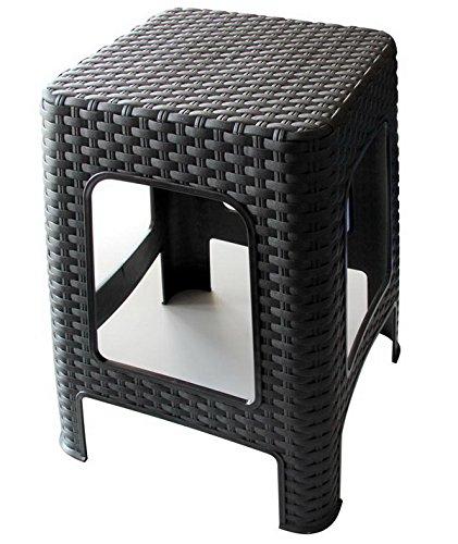 Hoffmanns Sitzhocker 28 x 28 cm Sitzfläche im edler Rattanoptik, 45 cm hoch (Standfläche 35 x 35 cm) ... (Schwarz)
