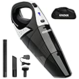 Rechargeable Cordless Handheld Vacuum, LOLLDEAL Powerful Hand Vacuum Cleaner, 12V 100W Quick Charge, Light Weight Portable Hand Held Vacuum, Durable Stainless Steel Filter, Carry Bag, Black