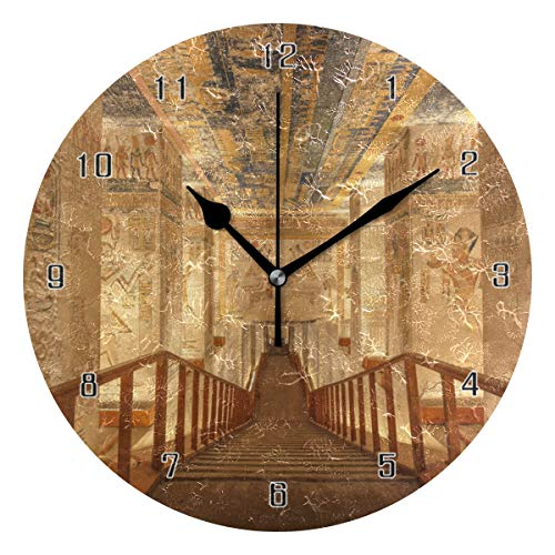 - HSGRSSGF Home Decor Tomb Egypt Ancient Round Style E,Silent Non-Ticking Wall Clock,Battery Operated Art Decorative for Kitchen,Living Room,Kids Room and Coffee Decor (10 Inch)