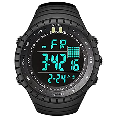 Men's Digital Sports Watch, Mens Multifunction Outdoor Alarm Military Fashion Watches Electronic Waterproof Resistant Casual Wristwatch with Luminous Calendar Backlight Stopwatch LED Screen - Black