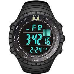 Mens Digital Sports Watch, Military Waterproof Large Face Watches Electronic Outdoor Casual Watch Multifunction with Alarm Luminous Calendar Backlight Stopwatch - Black