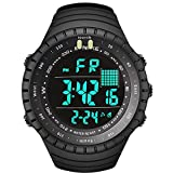 Mens Digital Sports Watch, Military Waterproof Multifunction Large Face Watches Electronic Outdoor Water Resistant Casual Watch with Alarm Luminous Calendar Backlight Stopwatch LED Screen - Black