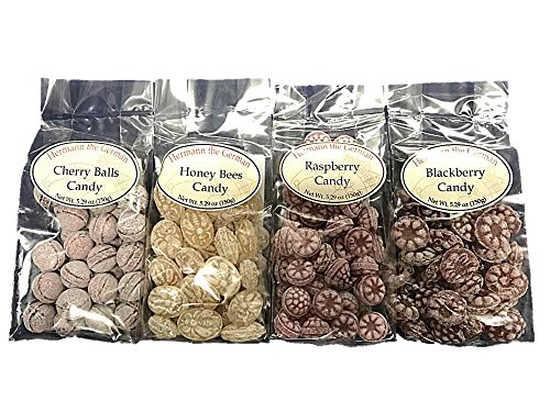 Hermann The German Gourmet Candy 4 Flavor Pack Raspberry, Cherry Balls, Blackberry, and Honey Bees ()