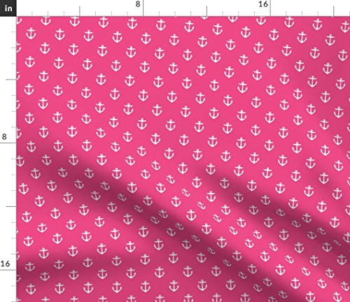 Spoonflower Anchor Fabric - Small Anchors Refuse to Sink Sea Fashion Anchor Nautical Pattern Summer Ocean Pink by Sweetzoeshop Printed on Petal Signature Cotton Fabric by The Yard -
