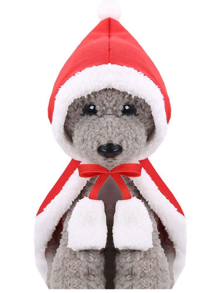 RunkeU Ropa para Mascotas Capa Capa Gato Caperucita Roja Disfraz De Navidad Gato Perro Capa Individual Arco Cintur/ón Lindo Grueso