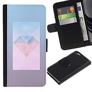 WonderWall Fondo De Pantalla Imagen Diseño Cuero Voltear Ranura Tarjeta Funda Carcasa Cover Skin Case Tapa Para Apple Iphone 5 / 5S - la joya del diamante joya del arte día polígono