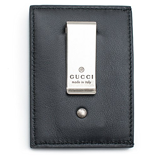 (Gucci XL Embossed Black Wallet Money Clip Leather Mens Gift Xmas Italy New Box)