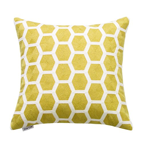 SLOW COW Cotton Embroidery Throw Pillow Cover 18x18 inches, Invisible Zipper Yellow Throw Pillow Case for Living Room